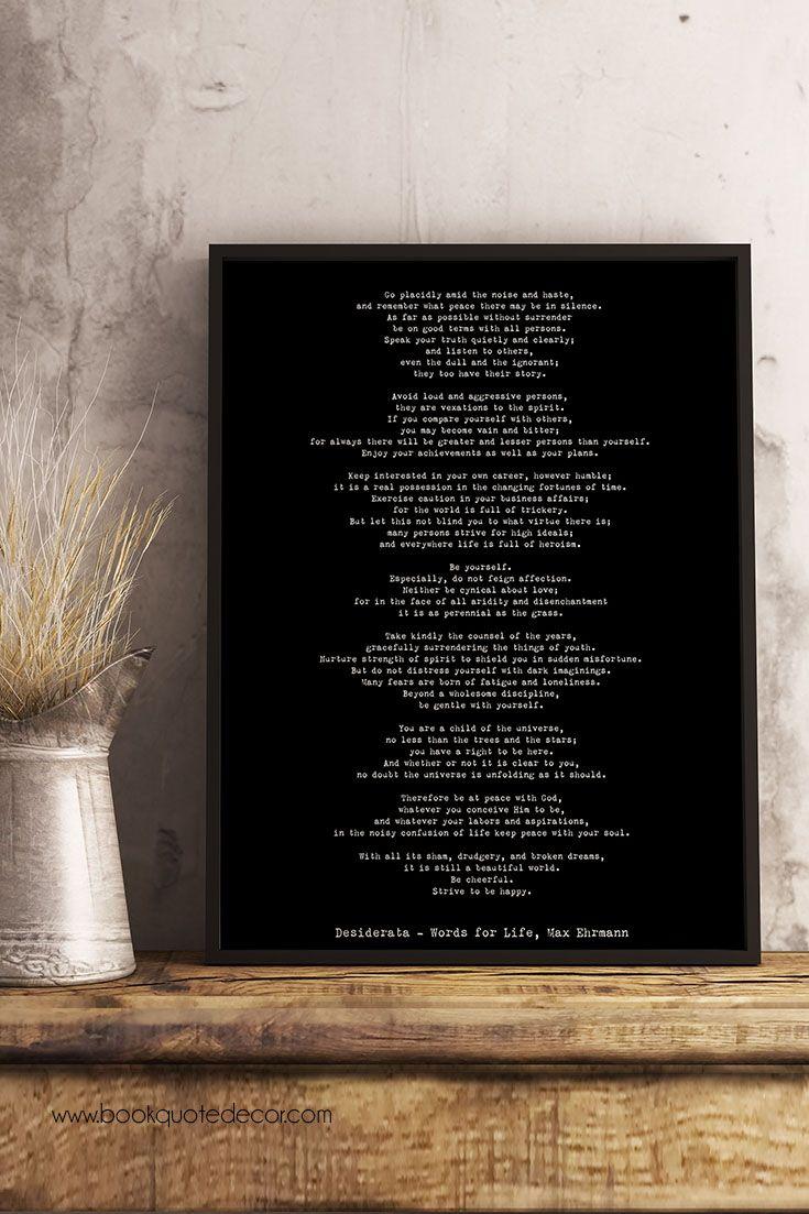 Print Desiderata Framed 12x16 Poem Print Max Ehrmann Framed Etsy Elegant Wall Art Minimalist Book Framed Prints