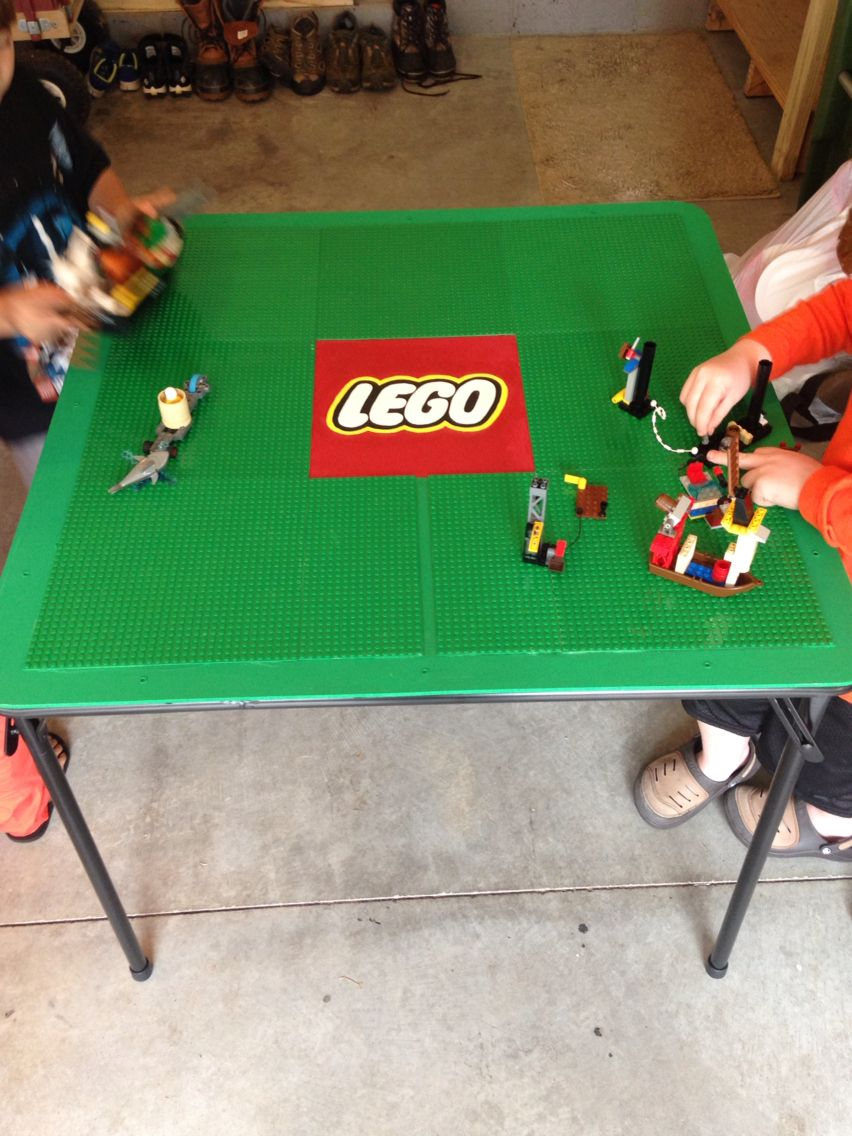Diy Folding Lego Table Made From A Card Table And 10 Inch Lego Plates Made For My Lego Crazed Nephew Miles Lego Table Diy Game Room Kids Lego Table
