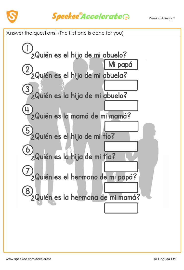 Free Printable Family Members In Spanish Spanish Printables Homeschool Spanish Spanish [ 1100 x 750 Pixel ]
