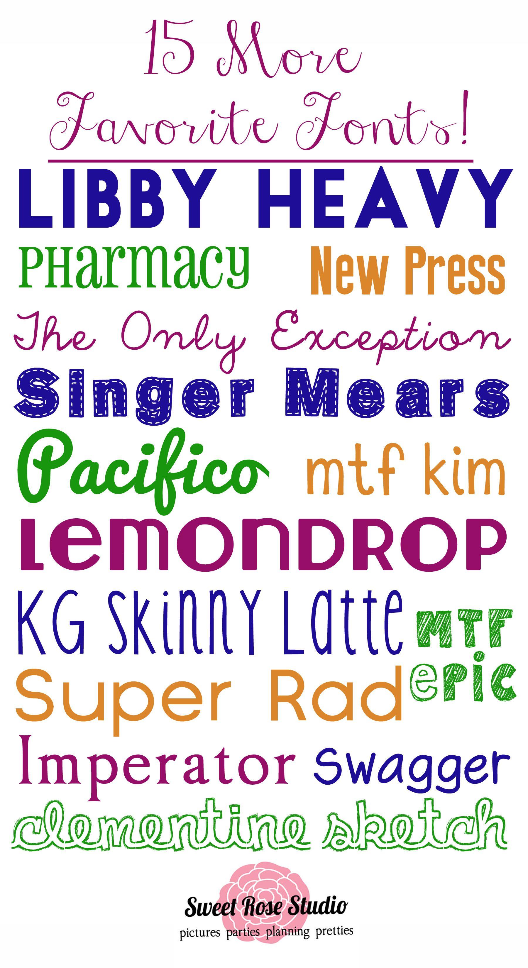 15 *MORE* Favorite Free Fonts! Print fonts, Fancy fonts