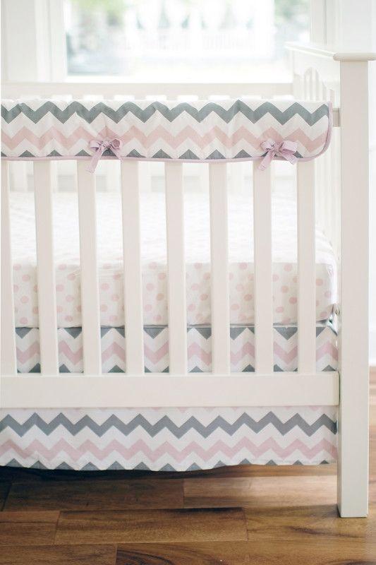 Chevron Baby in Pink Crib Rail Cover