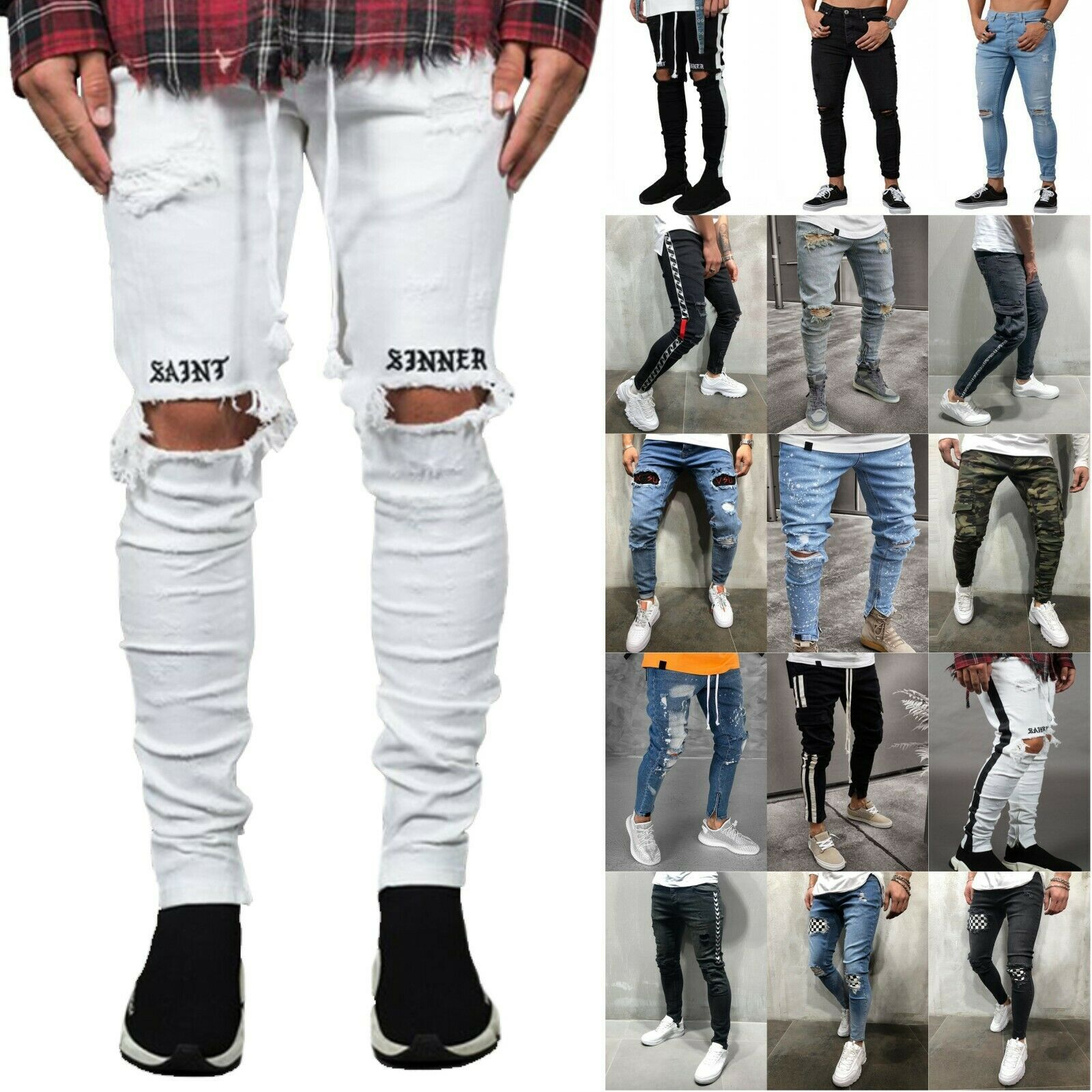 Mens Skinny Joggers Ripped Jeans Biker Frayed Stretchy Denim Slim Fit Trousers