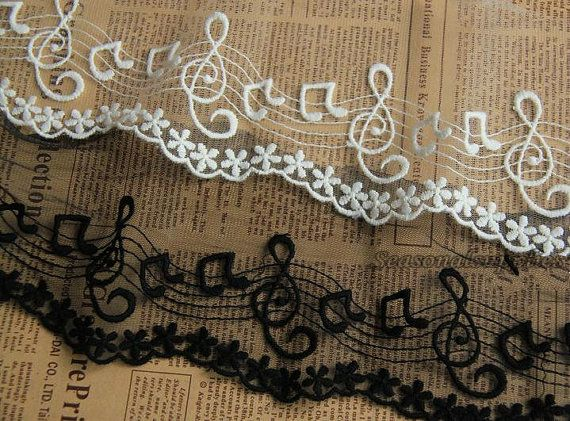 Ivory Tulle Lace Fabric Black Musical Music Note Embroidered Wedding Birdal Veil