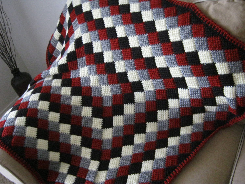 Red White Grey Black Crochet Baby Blanket Afghan