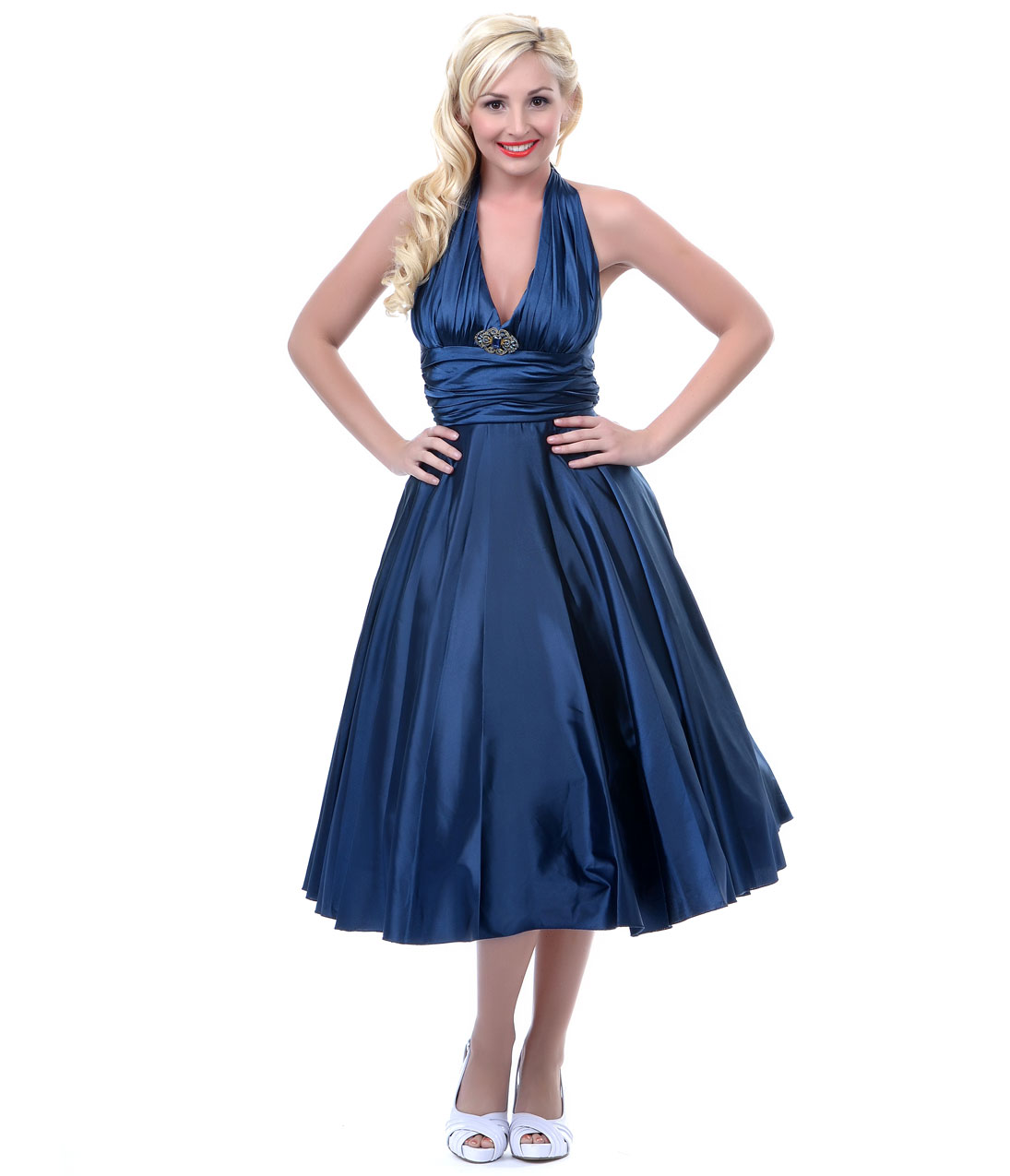 1950s style marilyn navy blue satin halter prom dress from unique 1950s style marilyn navy blue satin halter prom dress from unique vintage i absolutely ombrellifo Images