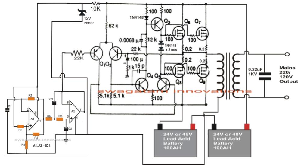 1kva 1000 Watts Pure Sine Wave Inverter Circuit Electronic Circuit Projects Circuit Diagram Circuit Projects