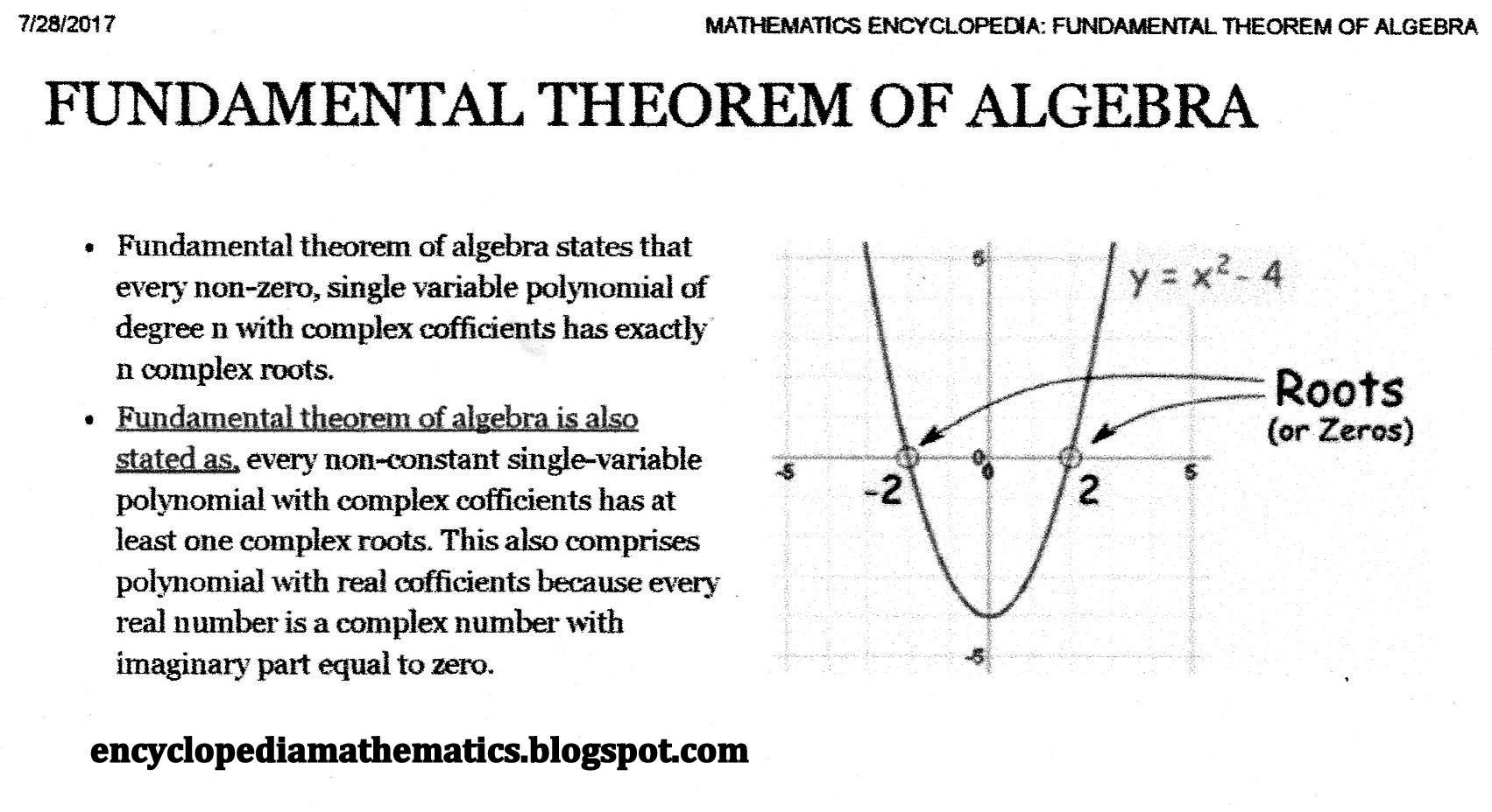 Fundamental Theorem Of Algebra Worksheet