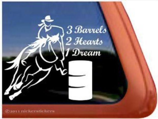 Barrels Hearts Dream Barrel Racing Horse Trailer Vinyl - Custom barrel stickers