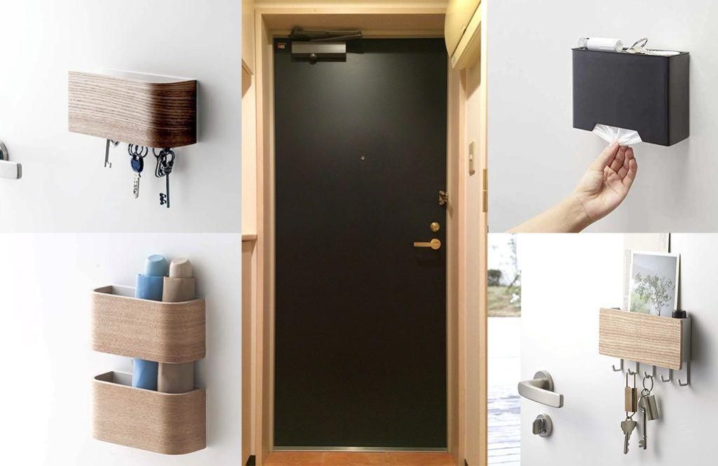 玄関ドアに 山崎実業のマグネット収納 を使って 見た目すっきり収納