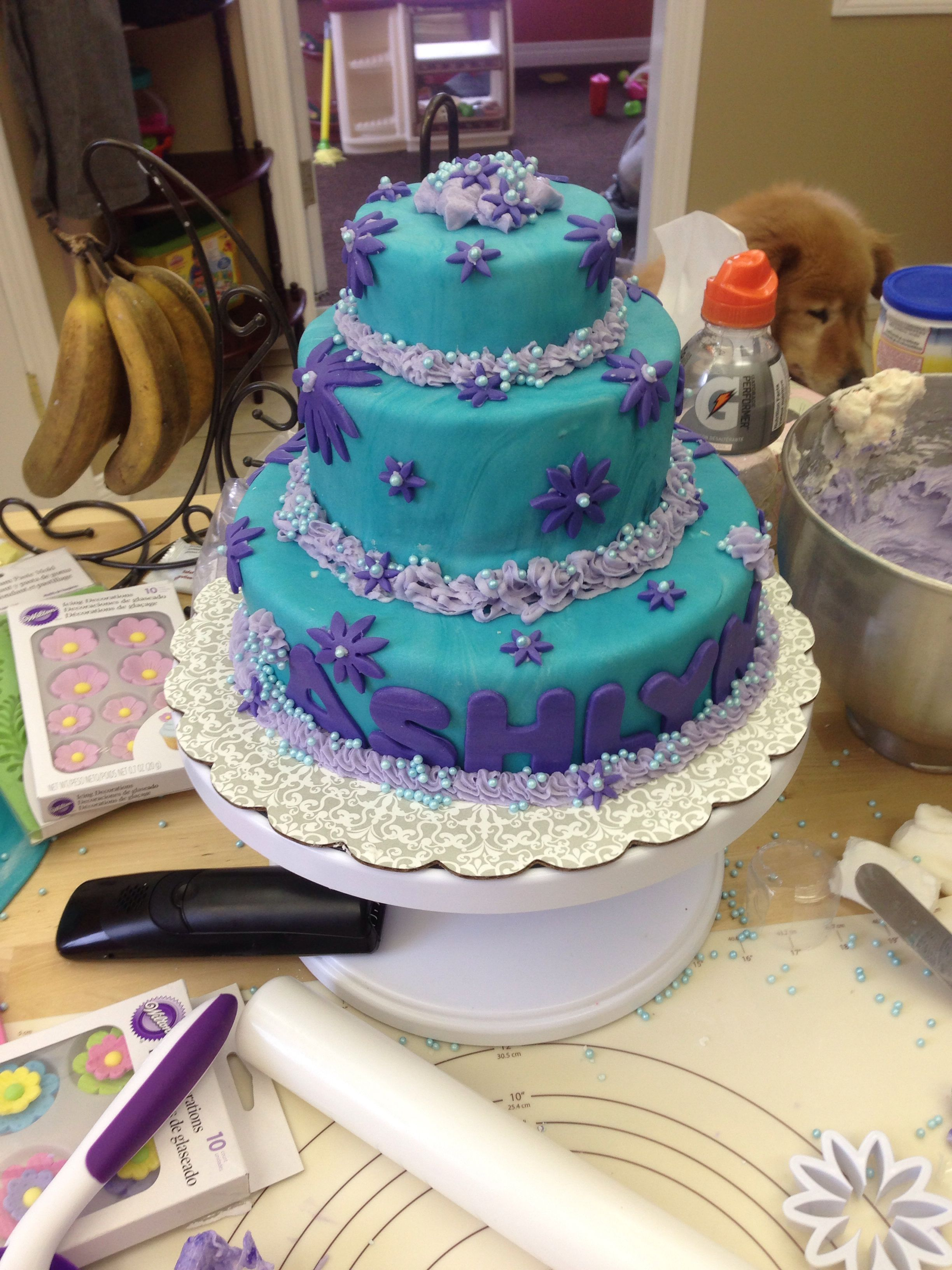 3 Tier Teal With Purple Flowers Fondant Polka Dot Inside Birthday