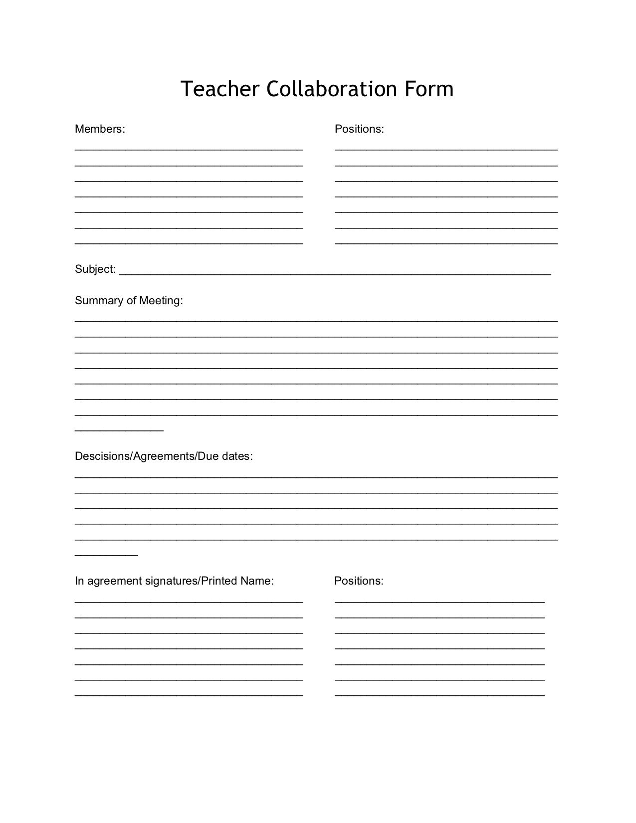 This form is to take notes on during a parent-teacher