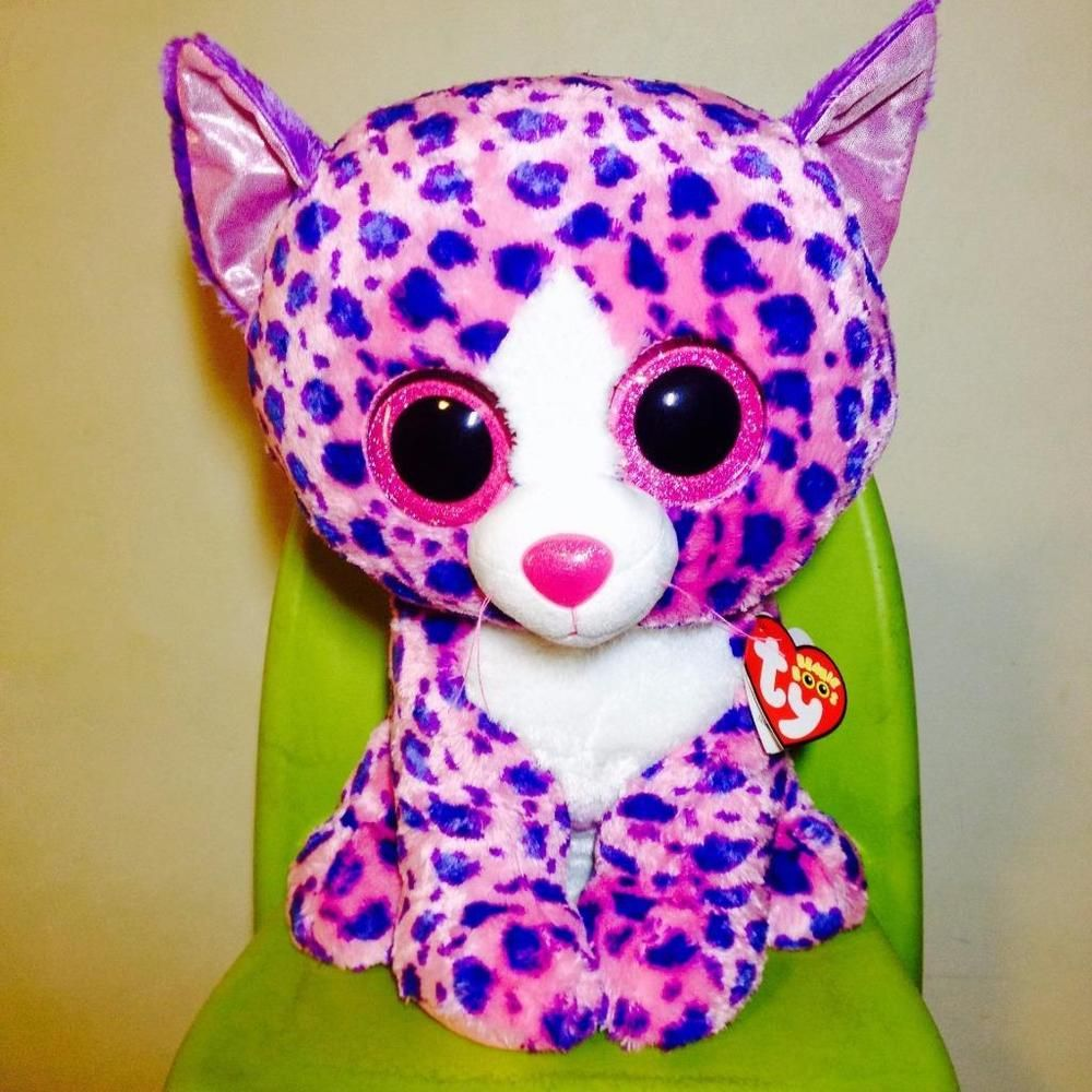 Ty Beanie Boos 16 Large REAGAN the Pink Cat Claires Exclusive Boo Soft Toy  NWMT c24ce107e2b