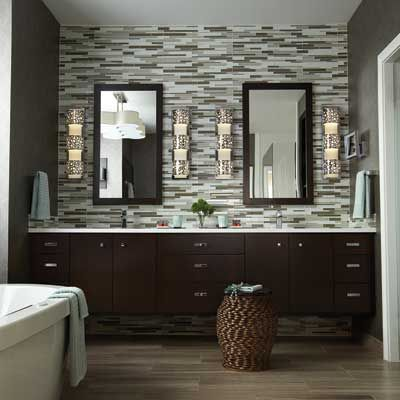 Bathroom Wall Sconce With Wooden Vanity Cabinet And Double Sink