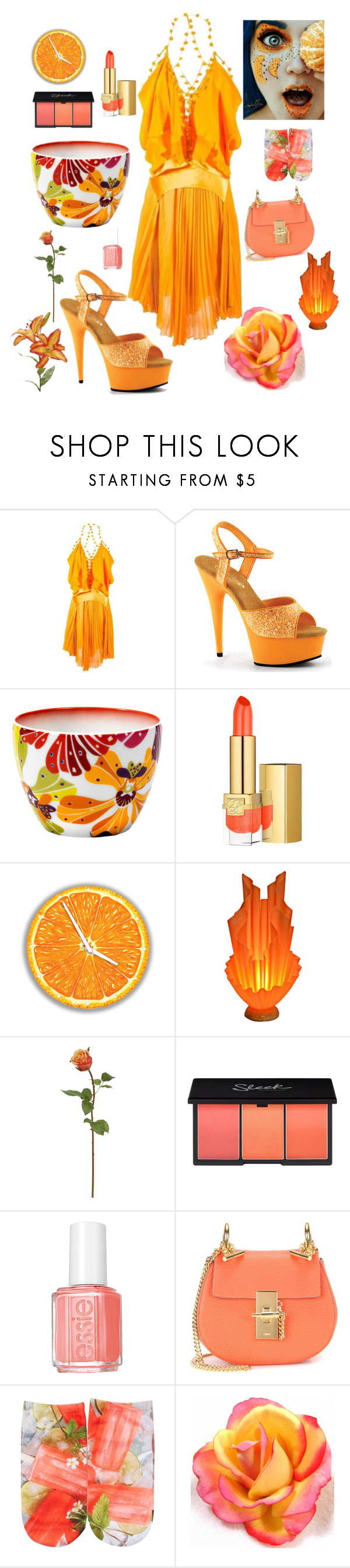 """Springtime Beauty"" by kotnourka ❤ liked on Polyvore featuring Tom Ford, Pleaser, Missoni, Estée Lauder, Universal Lighting and Decor, Essie, Chloé and Free Press"