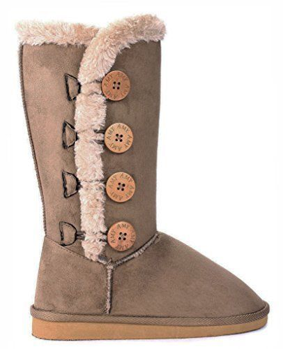 Snow Boots Buttons And Faux Fur Women'S