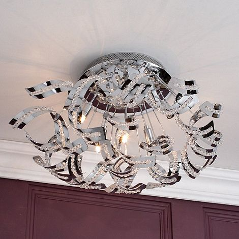 Litecraft Twirl 6 Light Semi Flush Chrome Ceiling At