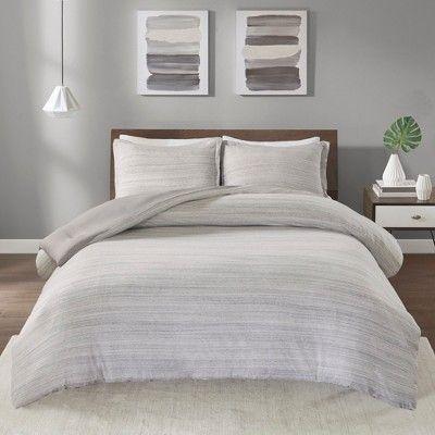 King California King 3pc Spacedye Cotton Jersey Comforter Set Gray