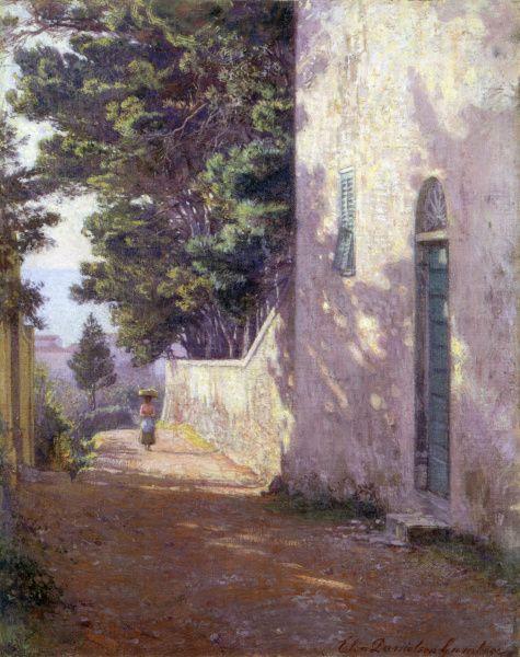 """""""Antignano korkealta kuvattuna"""" (1917) by Elin Danielson-Gambogi - Vuonna 2007 Didrichsenin taidemuseossa oli Elin ja Raffaello Gambogin taideteosten näyttely ja vuonna 2011 Retretin taiteilijapareja-näyttelyssä oli esillä Elinin ja hänen puolisonsa maalauksia.Muistomerkki Elin Danielson-Gamboista sijaitsee Noormarkussa."""