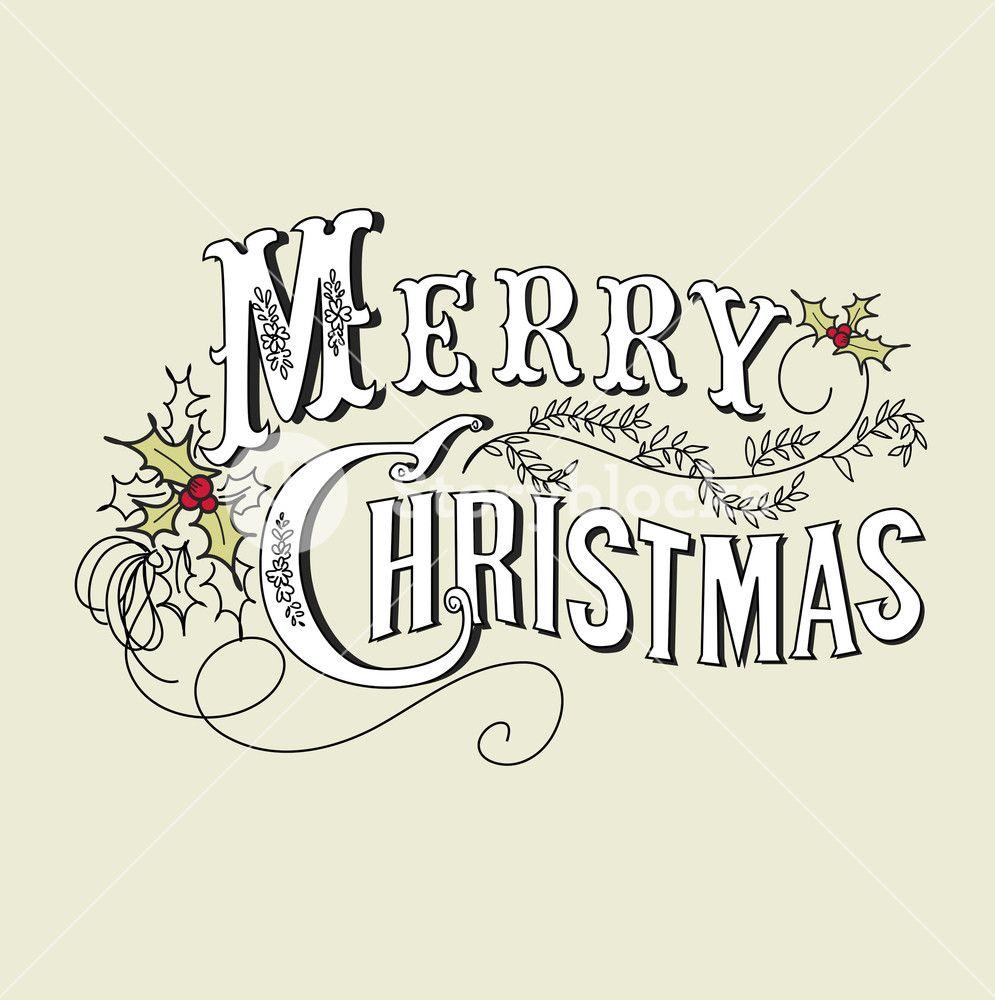 Vintage Christmas Card Merry Christmas Lettering Merry Christmas Vintage Christmas Lettering Christmas Typography