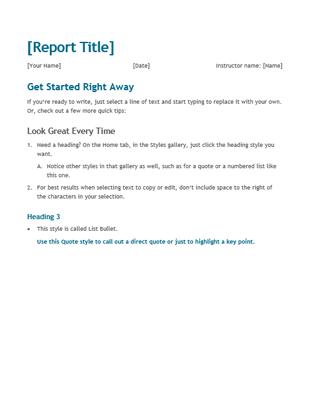 Student Report · Office TemplatesWord ...