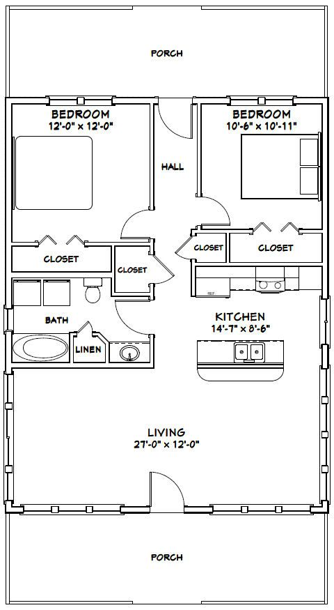 28x36 House 28x36h2c 1 008 Sq Ft Excellent Floor Plans Cottage Plan Floor Plans Tiny House Plans