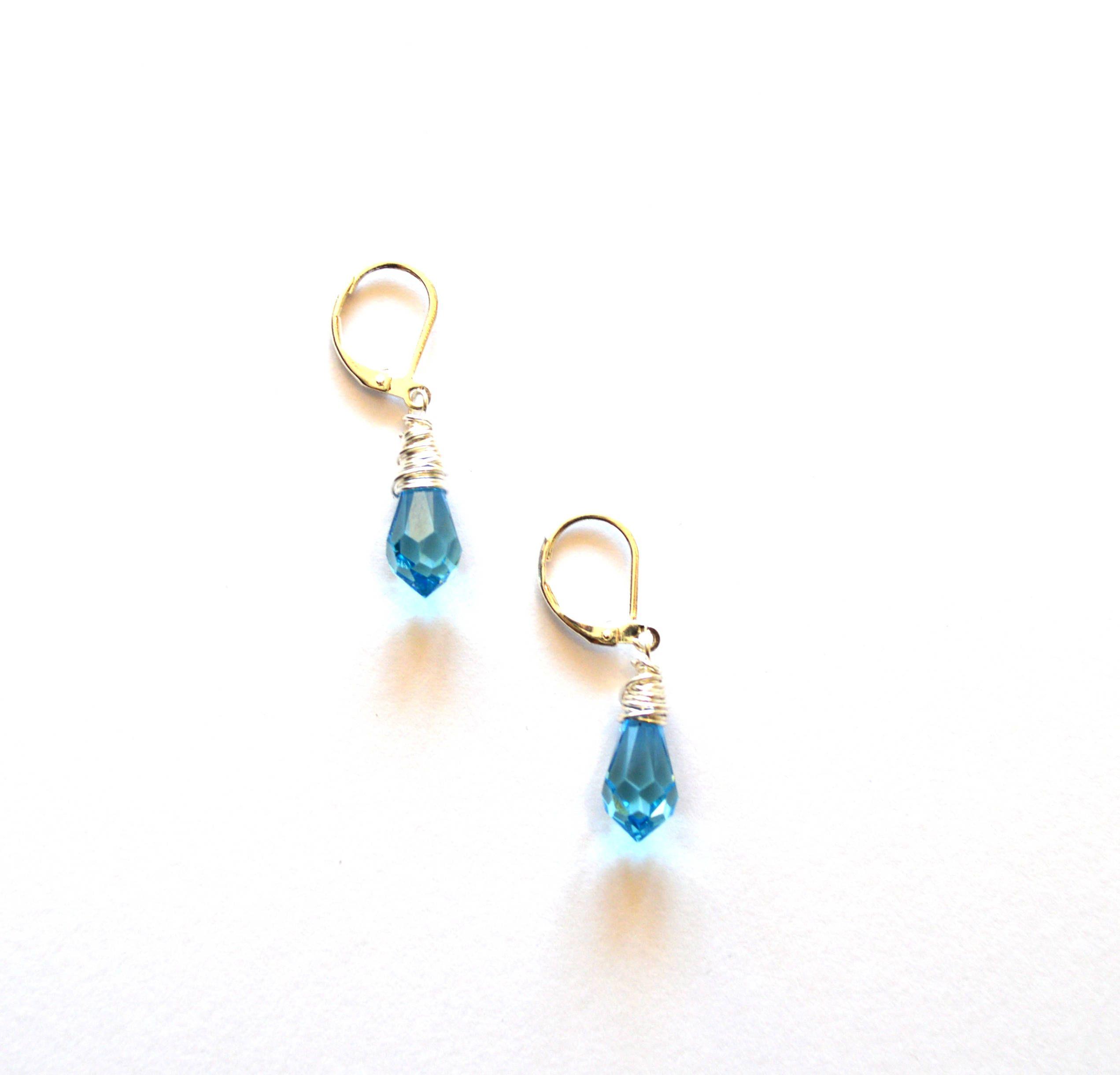 Wire Wrap Silver Blue Earrings