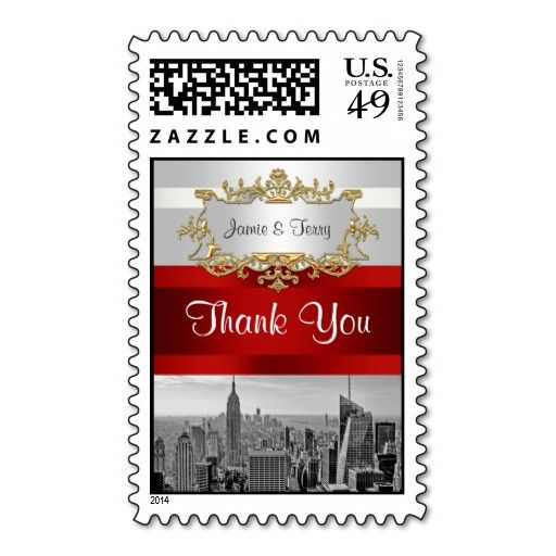 Nyc skyline bw 05 white red thank you postage