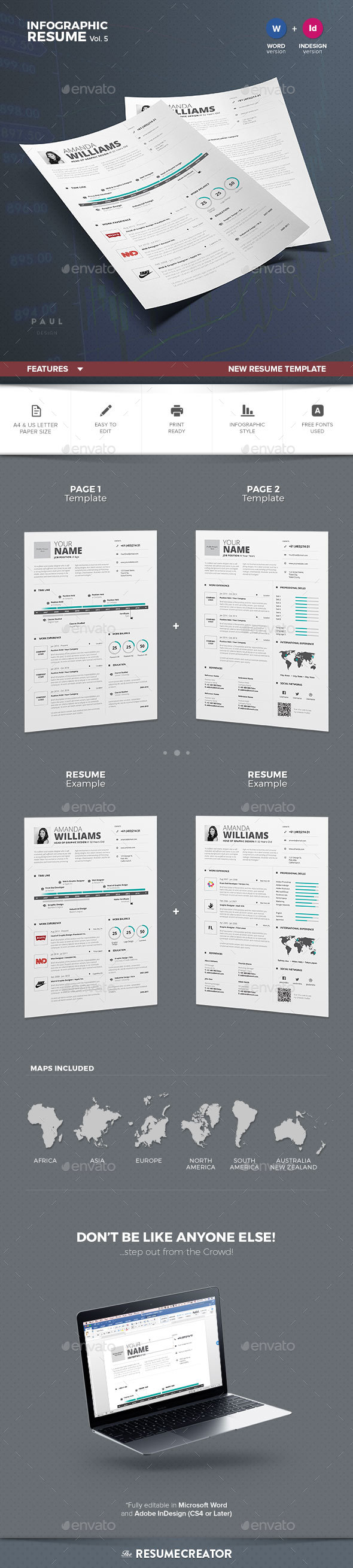 Infographic resumecv volume 5 infographic resume adobe indesign indesign templates infographic resumecv yelopaper Images