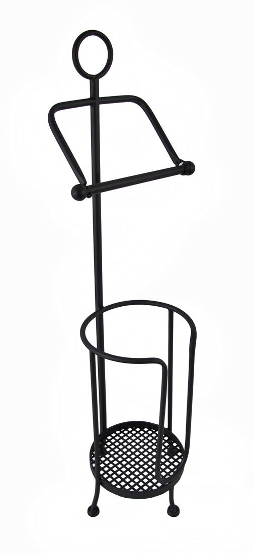 Wrought Iron Toilet Paper Holder With Extra Roll Storage