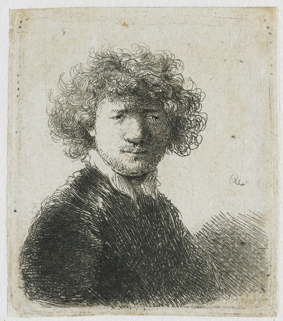 Bust of an old man with a flowing beard, the head bowed forward, the left shoulder unshaded, 1630  Rembrandt