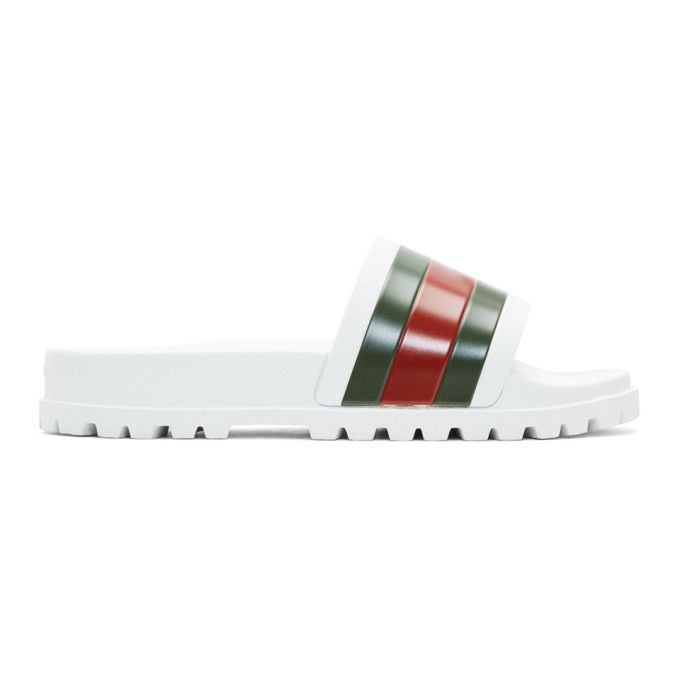 3b1bdc5ce GUCCI White Striped Pursuit Trek Slides. #gucci #shoes # Gucci Mens Sandals,