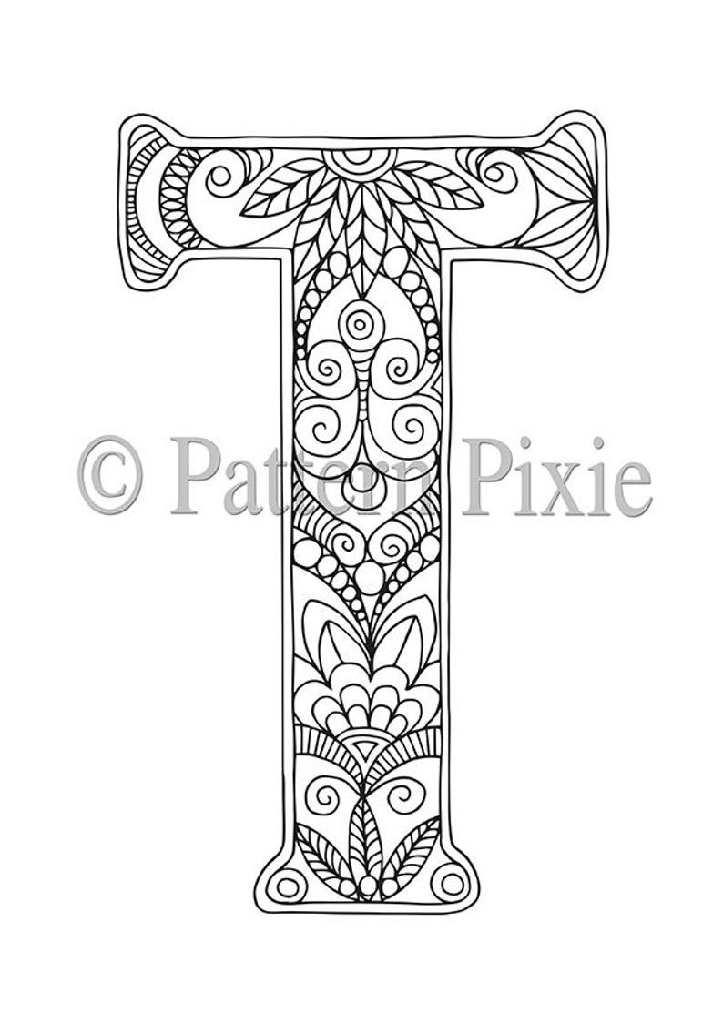 Adult Colouring Page Alphabet Letter T Coloring Pages