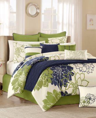 Lola Green 12 Piece Queen Comforter Set Bed In A Bag Bed Bath Macy S Bedroom Green Lime Green Bedrooms Home Lime green comforter sets queen