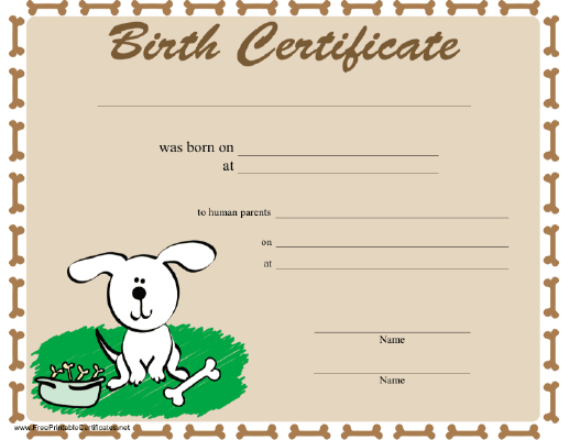 A dog birth certificate bordered in bones and featuring a happy – Birth Certificate Template Printable