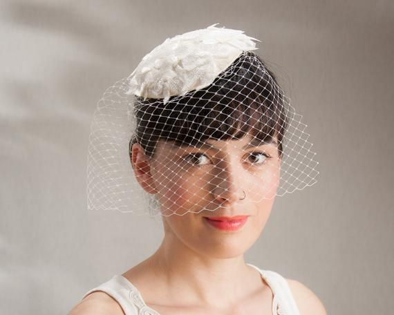 Bridal Fascinator, Birdcage Fascinator Lace, White Headpiece, Bridal Veil White, Bridal Veil Offwhit #fascinatorstyles
