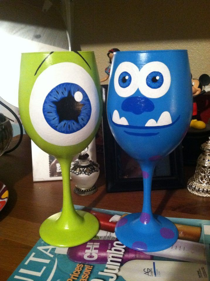 Mike and sulley hand painted wine glasses pinterest for Ceramic mural tutorials