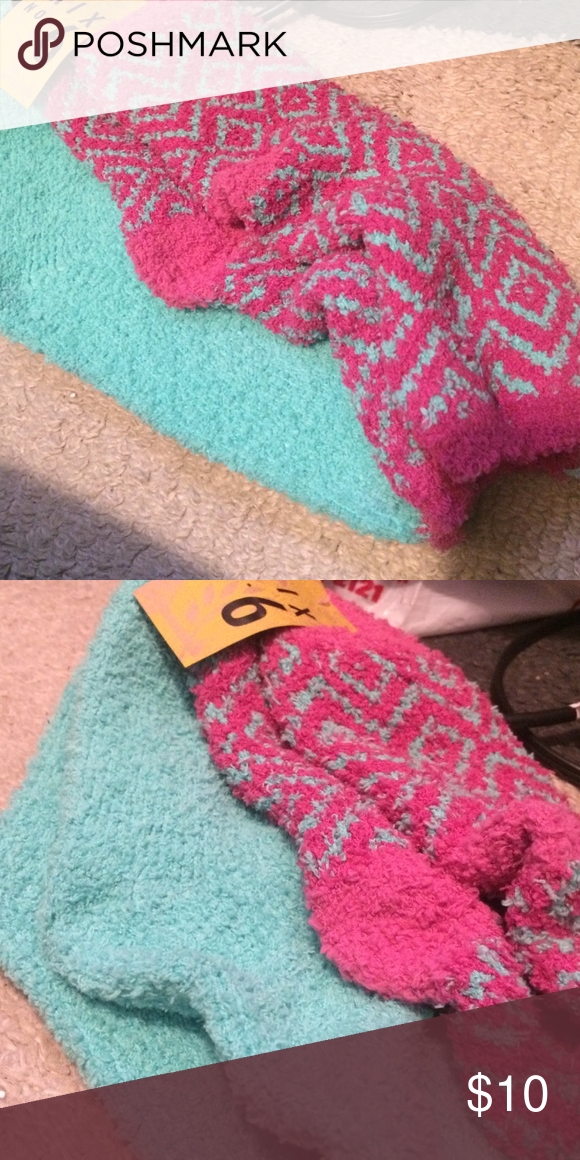 Two pairs fuzzy socks NWT super soft!! Sea green and magenta with sea green diamonds. Slather your feet with Shea butter and put these on to keep sandal ready feet all summer. Accessories Hosiery & Socks