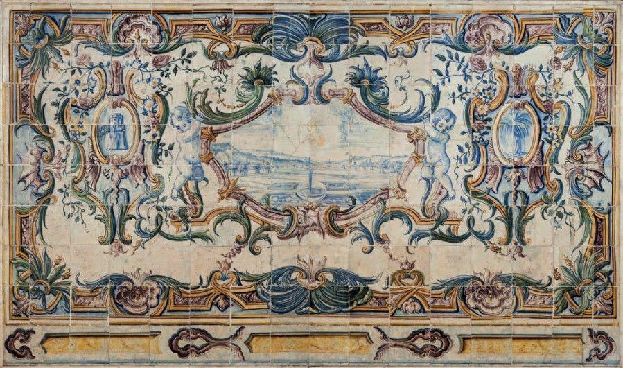 COMPOSITION MURALE en deux panneaux de carreaux de faïence portugaise du XVIIIe siècle dits AZULEROS «paysage et armoirie» (quelques accidents et restaurations) 128 x 218 cm - Lombrail-Teucquam - 18/06/2016