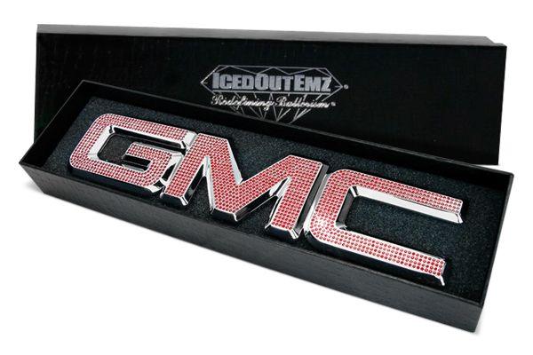 Custom Gmc Logo Chrome With Red Swarovski Crystal 3d Ebay Gmc