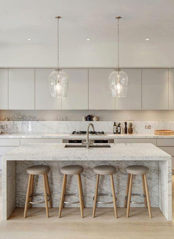 48 Marble Kitchens That Are BEYOND Gorgeous! | Cocinas, Cocina ...