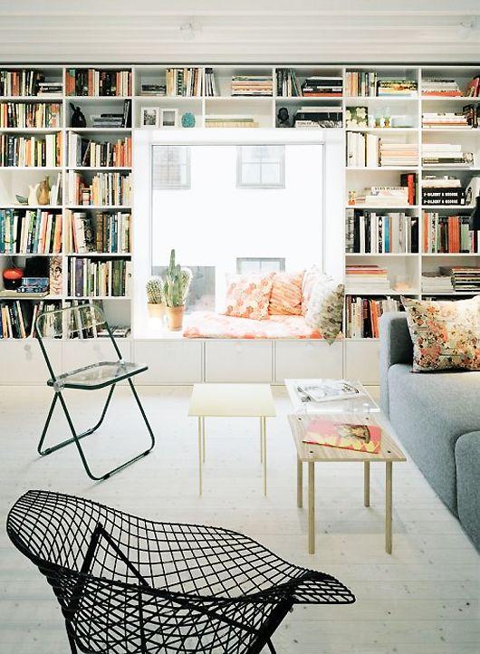 floor to ceiling built-in bookcases, via elding oscarson