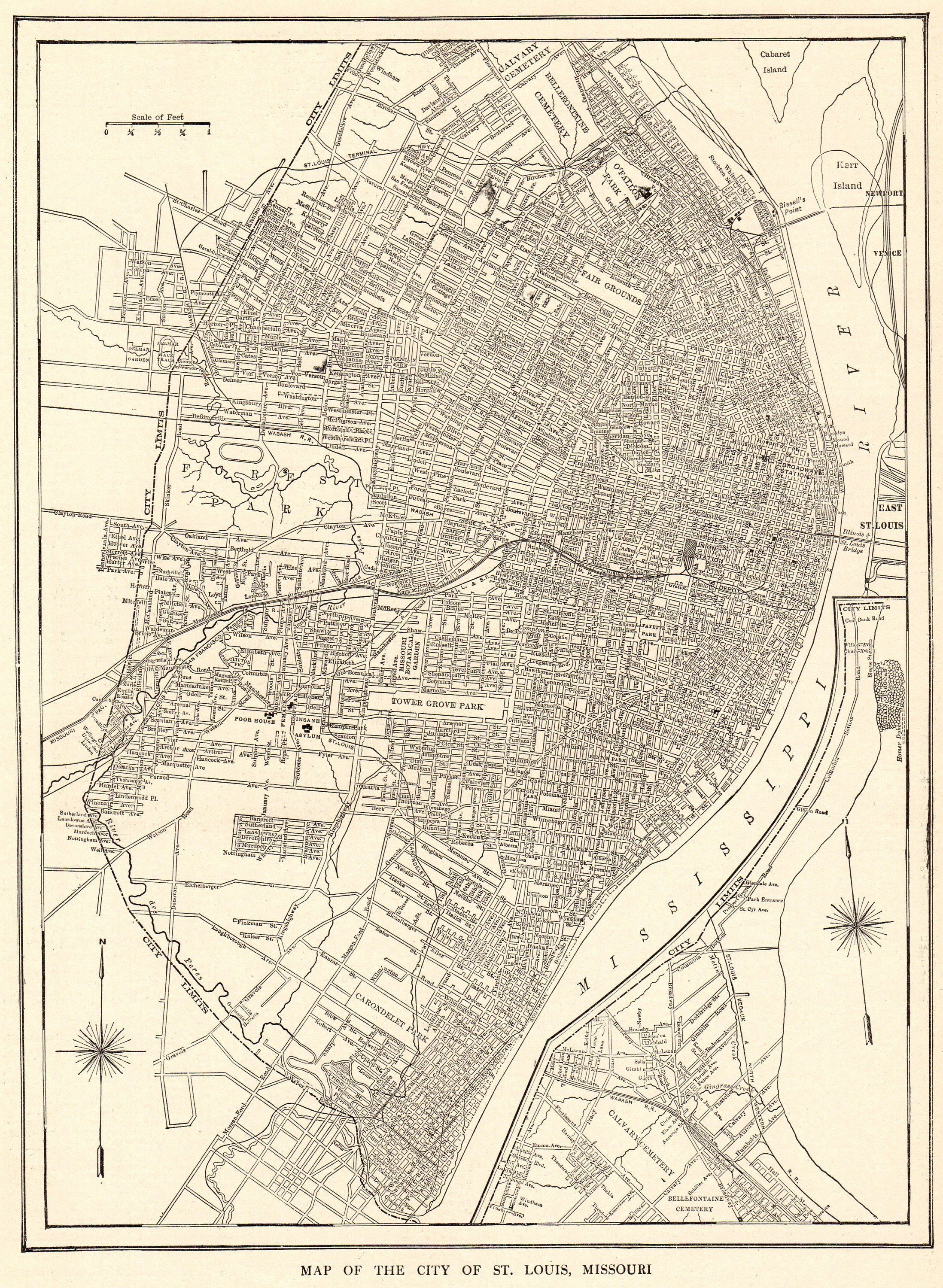 1914 Antique ST LOUIS MAP Vintage City Map of St Louis Black and ...
