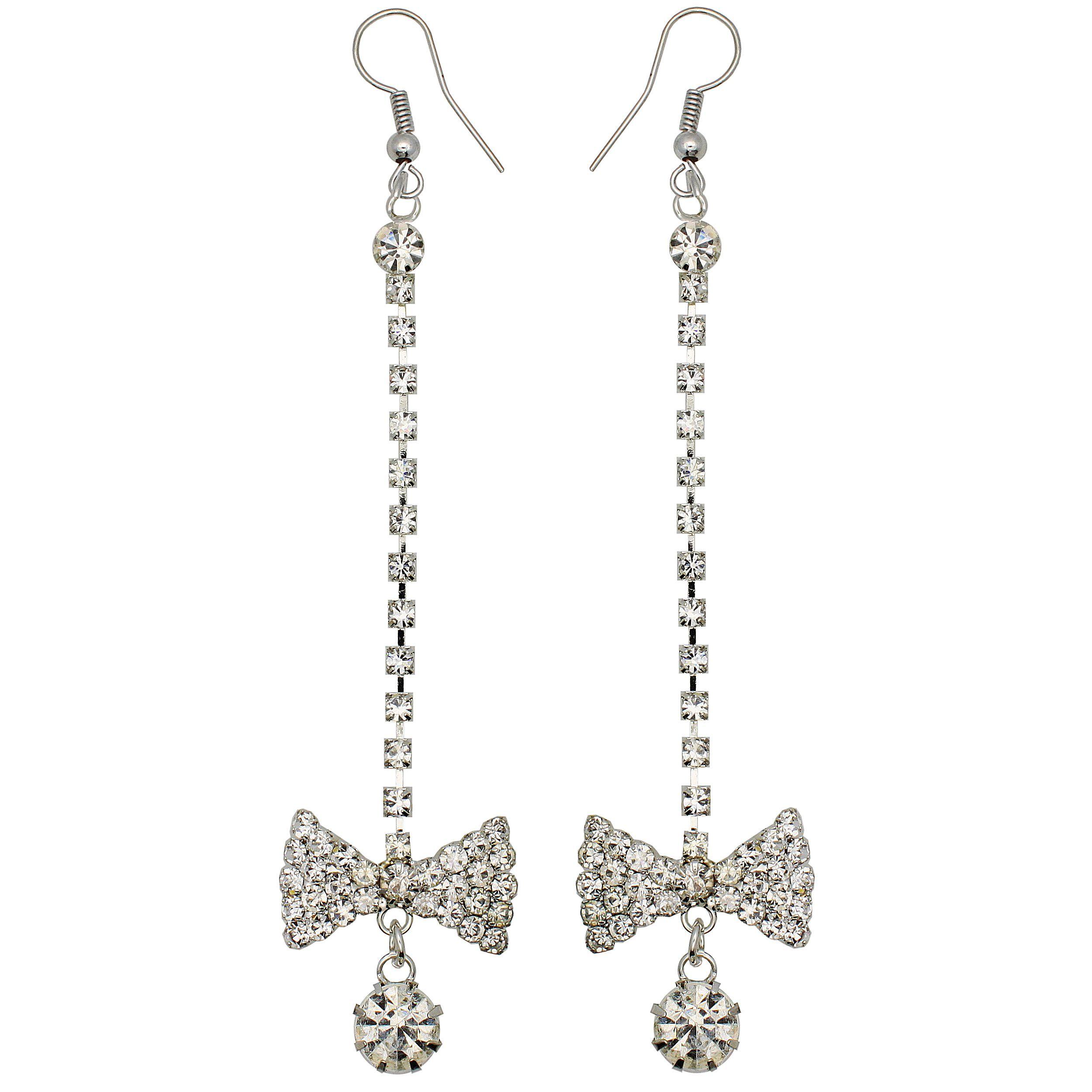 Kate Marie tone Rhinestone Bow Design Earrings, Women's