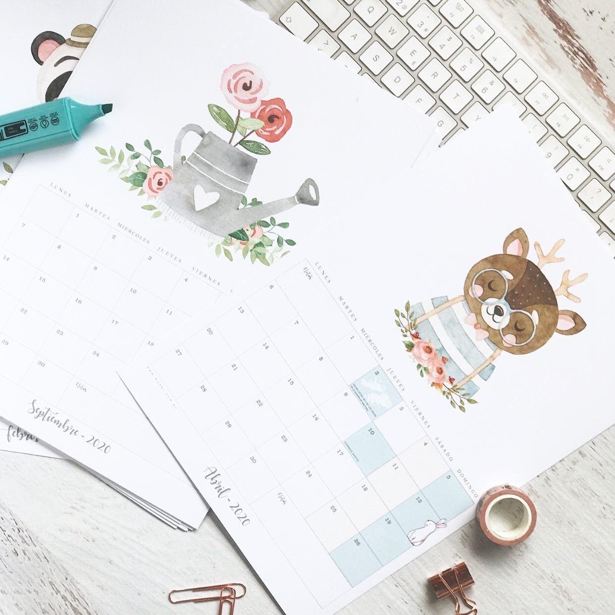 Calendario 2020 Kit Imprimible Animalitos Del Bosque Instant