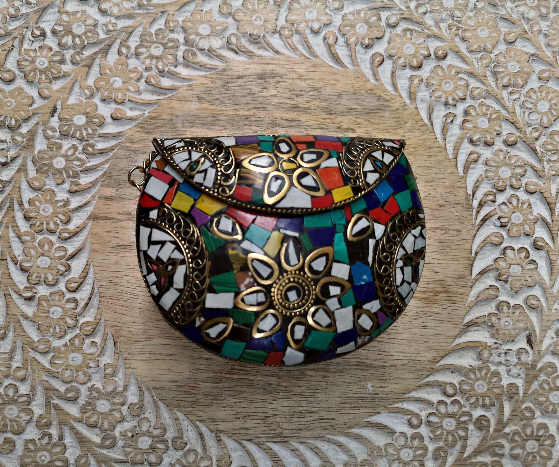 Bolso metálico mosaico mini multicolor | Metal, Hippie style