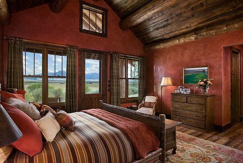 elegant red painting for rustic bedroom decorating on rustic cabin paint colors id=19275