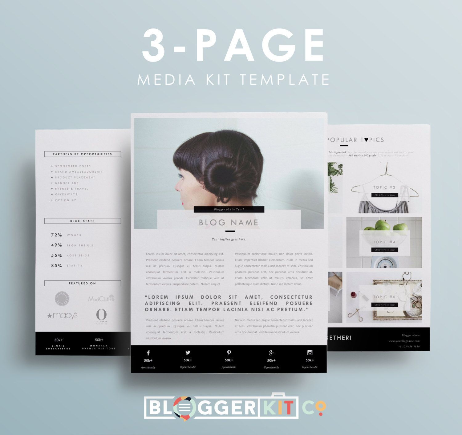 Three Page Media Kit Template Press Kit Template Electronic