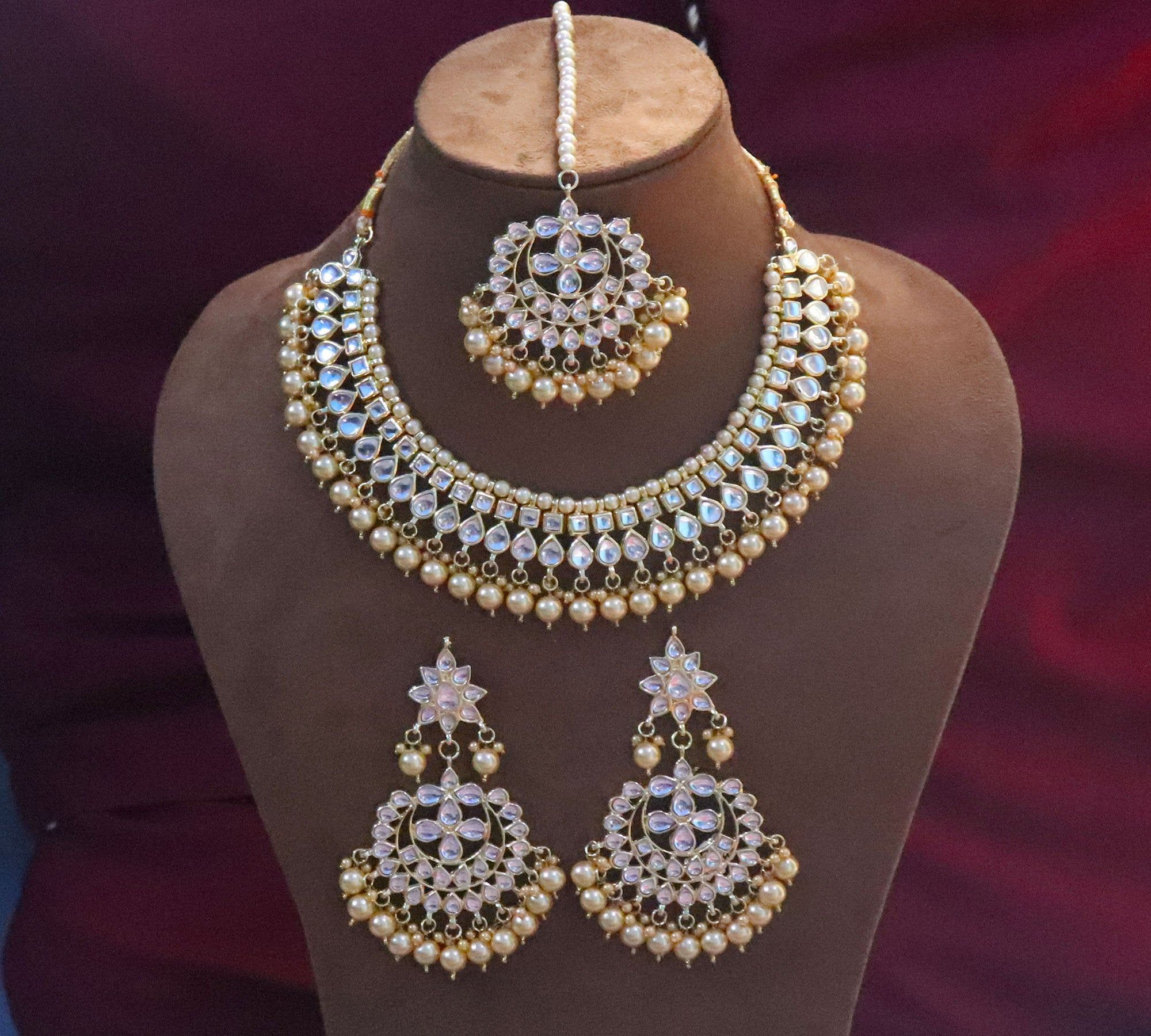 Indian Wedding Jewelry Pearl Necklace Set Earring  Gold Plated For Woman