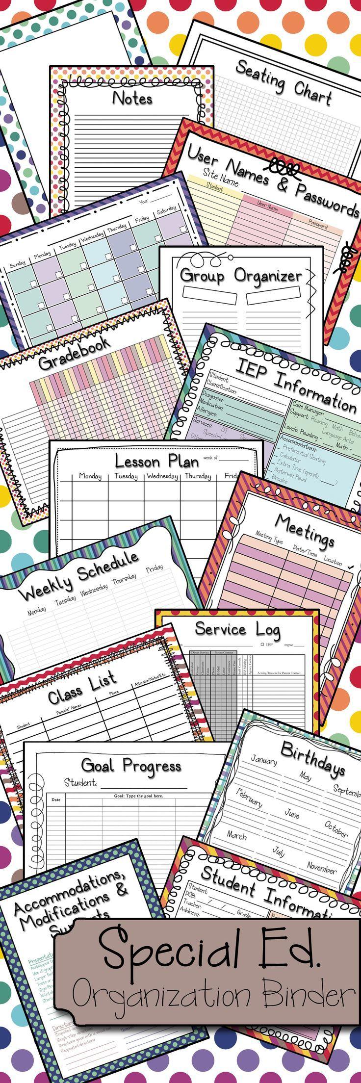 Special Ed Binder Warm Cool Color Combo Bundle Teacher - Special education teacher lesson plan template