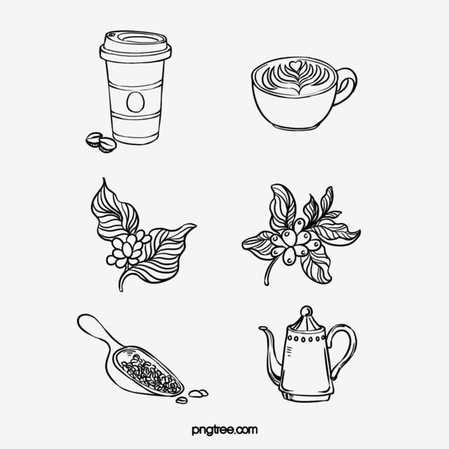 Hand Drawn Black Lineart Coffee Bean Coffee Pot Coffee Cup Combination Line Hand Painted Coffee Pot Png Transparent Clipart Image And Psd File For Free Downl Coffee Cup Tattoo Coffee Tattoos